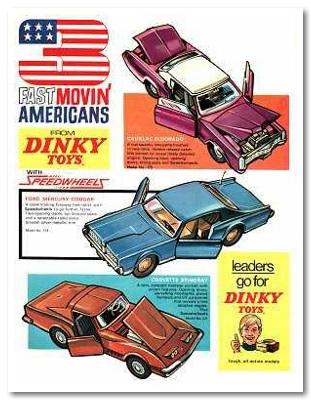 Una pagina pubblicitaria dei auto modelli della Dinky Toys